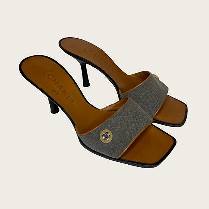 Chanel Canvas Mule Sandals