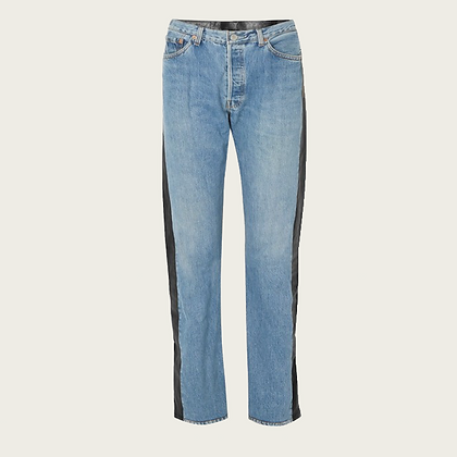 Vetements Leather Paneled High-Rise Jeans