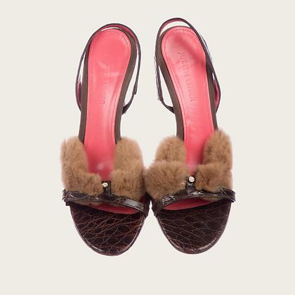 Judith Leiber Brown Sable Mink Sandal