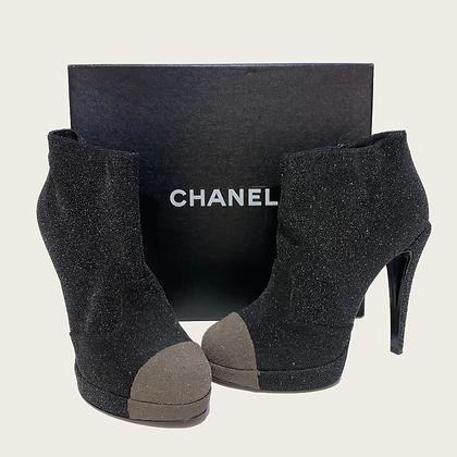 Chanel Black Sparkle Ankle Boots