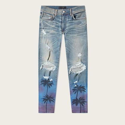 Amiri Palm Tree Ripped Skinny Jeans