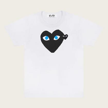Comme Des Garçon Play Heart Print Logo Patch T-Shirt