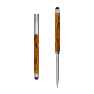 Res Nova ballpoint and touch screen pen in Olive wood