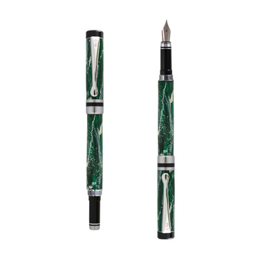 Ipazia fountain pen in Green marble effect
