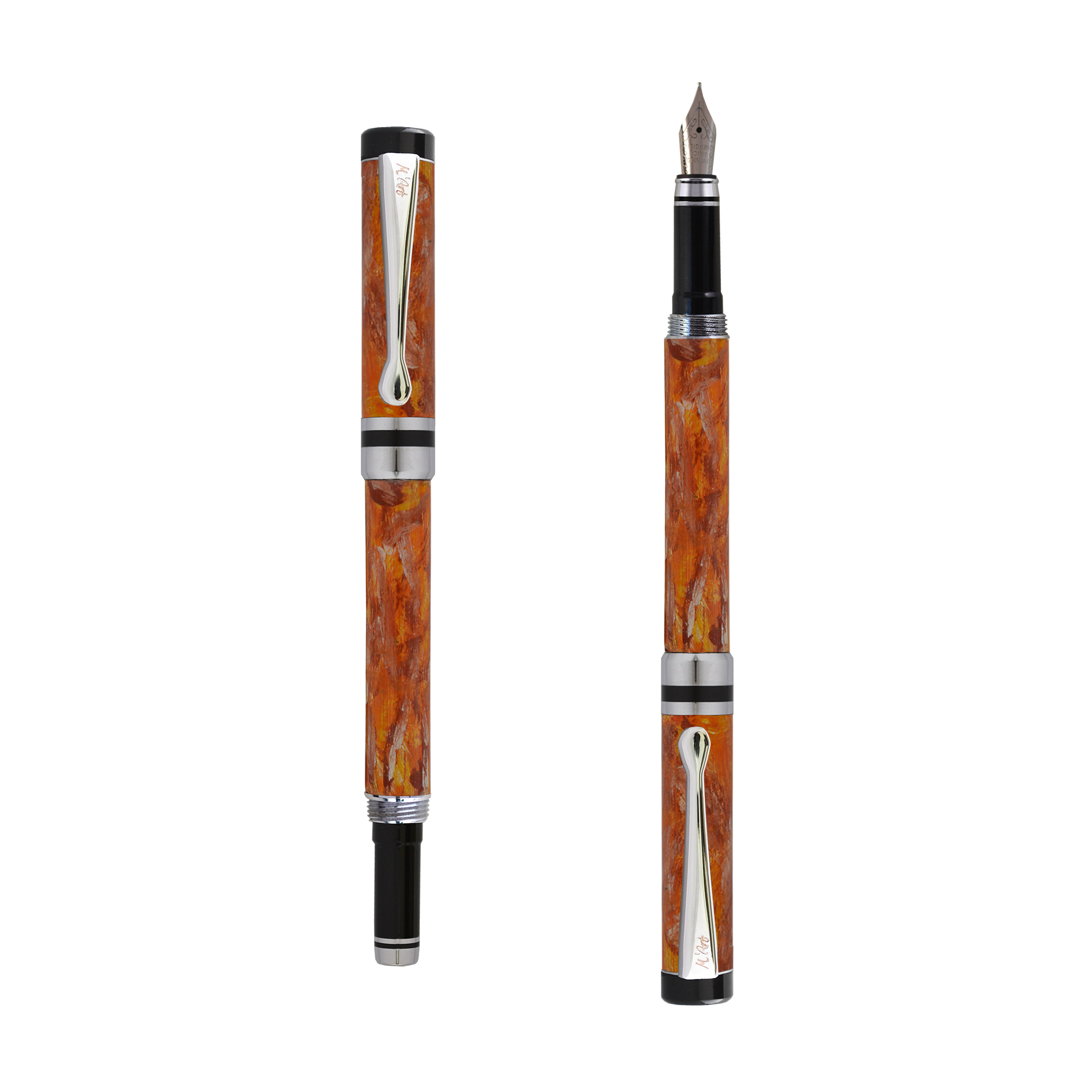 Ipazia pountain pen Orange marble effect