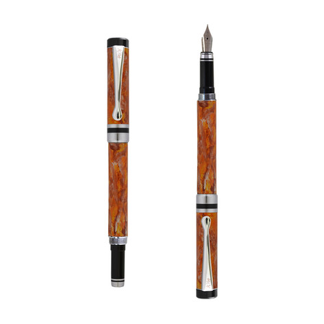 Ipazia fountain pen inOrange marble effect