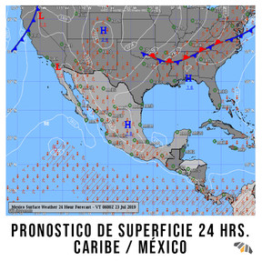 Pronostico de Superficie 24 HRS Caribe / Mexico