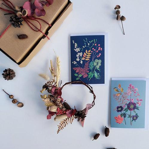 Dried mini wreath, and gift card