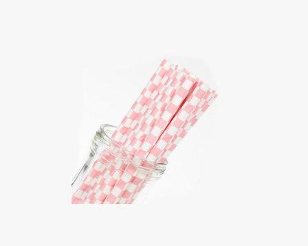 Pink chequered straws