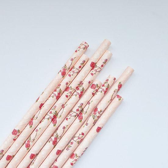 Floralpink paper straw