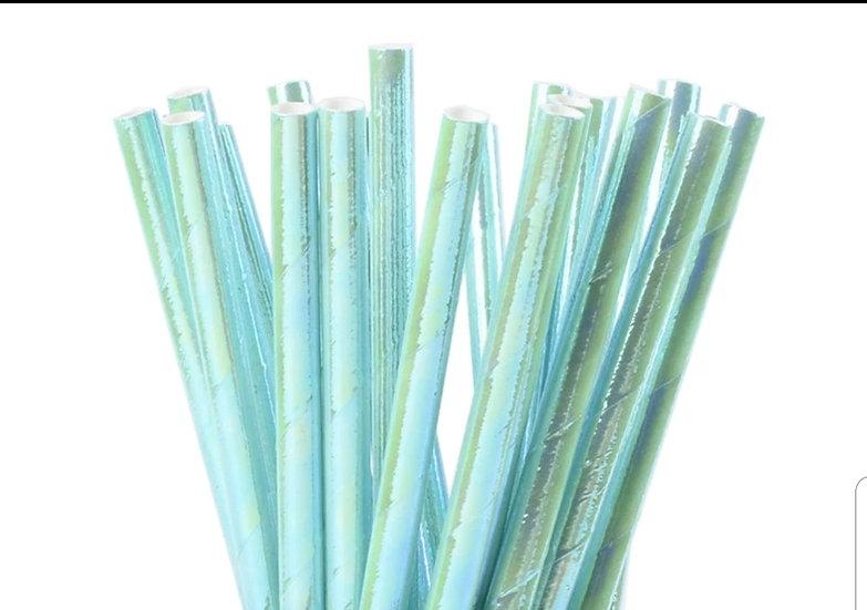 Iridescent blue straws