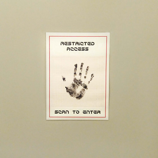 Restricted Access spy party sign