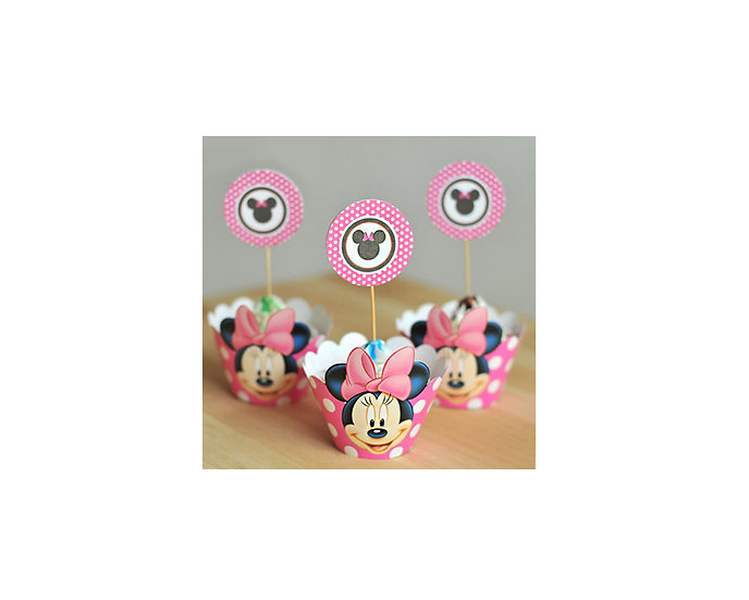 Minnie mouse cup cake toppers & wraps