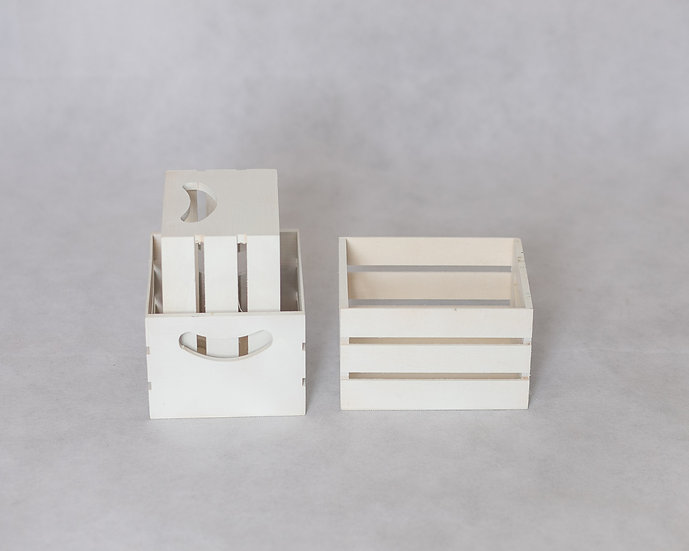 Wooden crate - small white