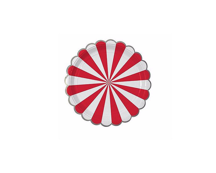 Red and white pinwheel paper plate