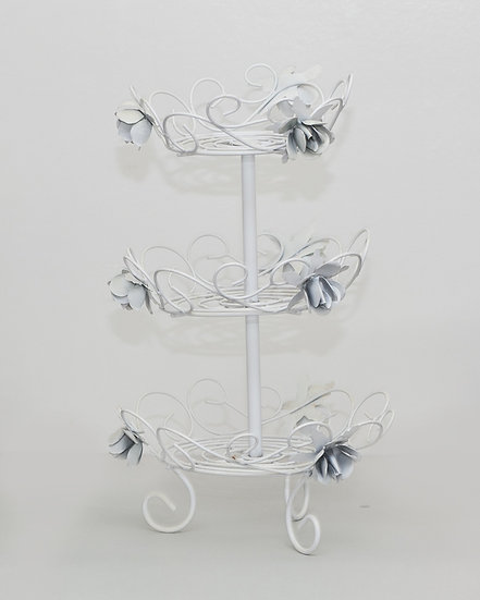 Three tier white wire cupcake stand