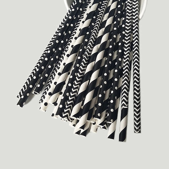 Black and white medly paper straw