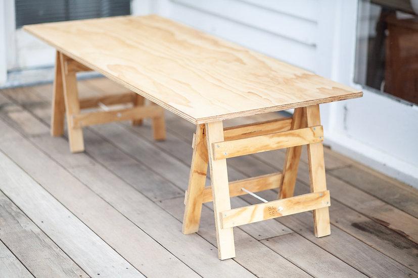 Kid's wooden trestle table