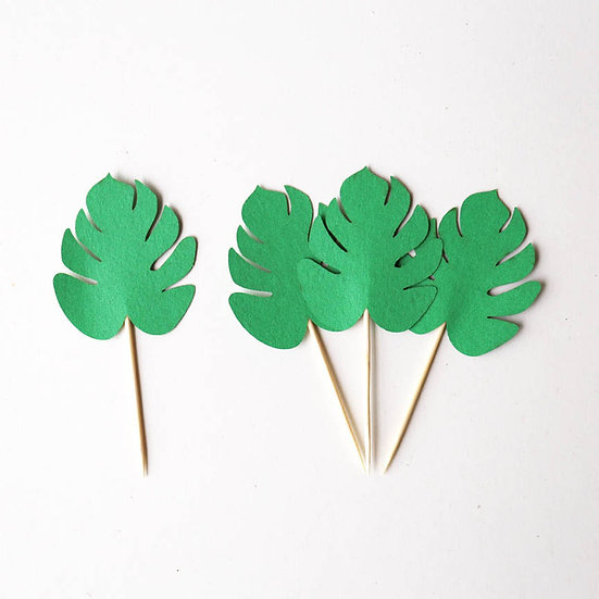 Tropical leave cupcake toppers