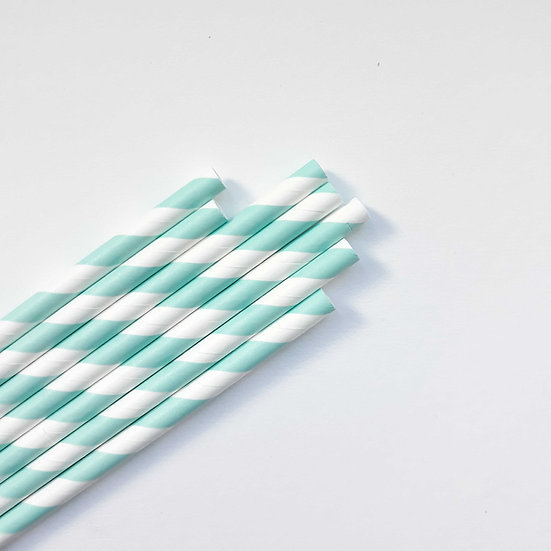 Blue stripe paper straw
