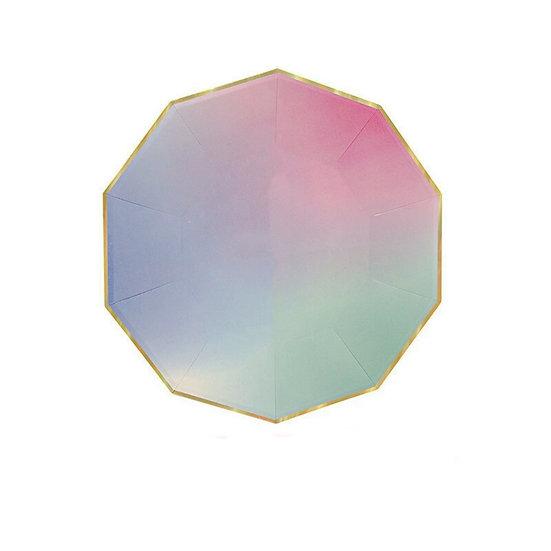 Pastel rainbow paper plates