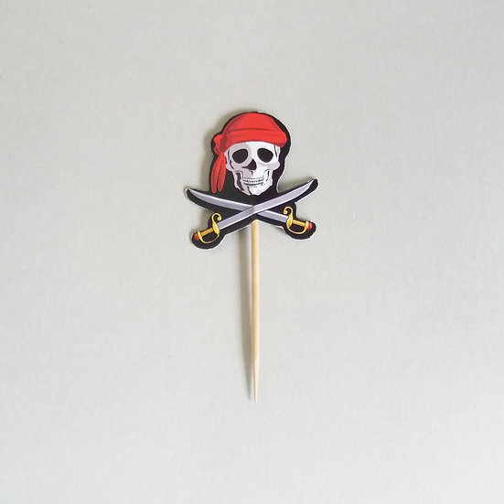 Pirate skull cupcake toppers