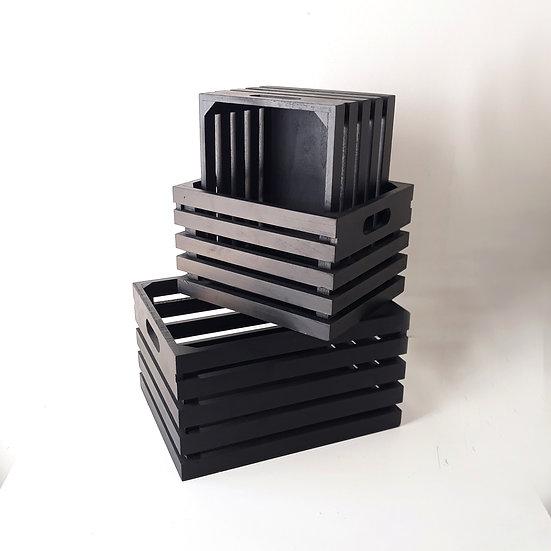 Black wooden crate set