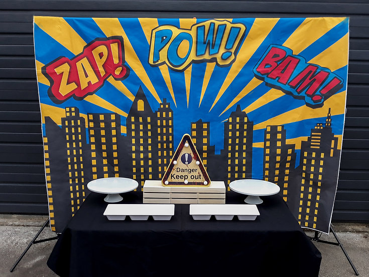 Superhero food table setup