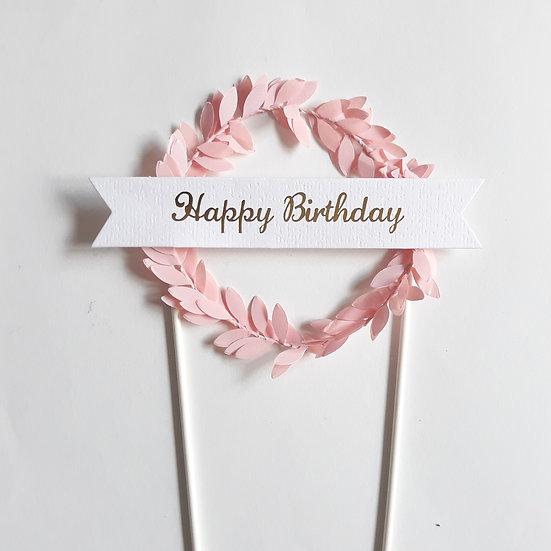Leaf birthday cake topper- pink