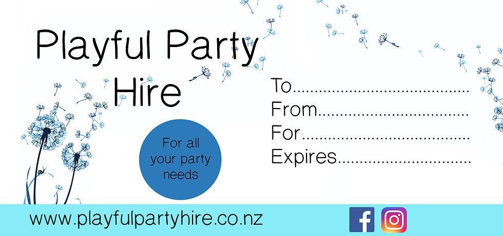Playful party hire voucher