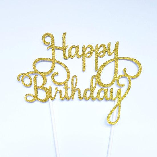 Happy Birthday cake topper -gold