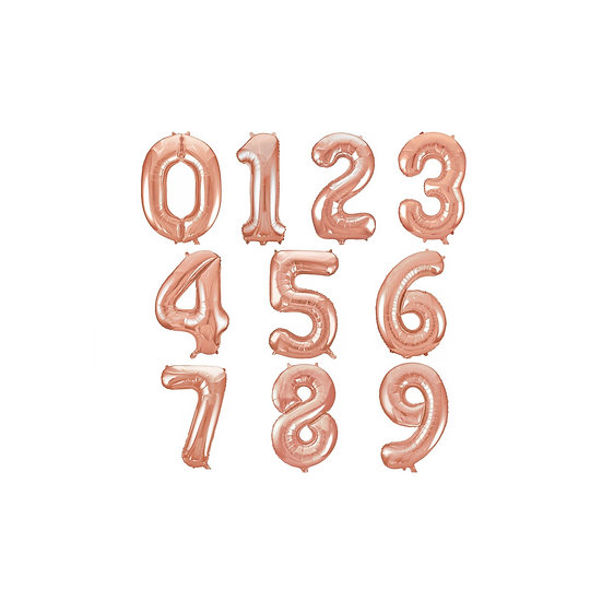 Rose gold number foil balloons - 23 inch