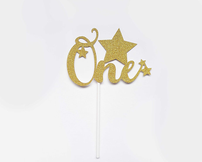 One cake topper (gold, silver, blue, pink)