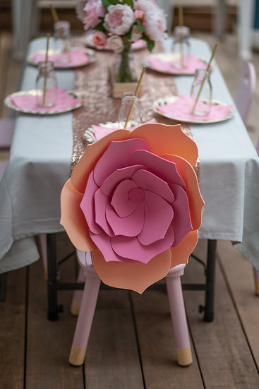 Peach & pink chair/decoration flower