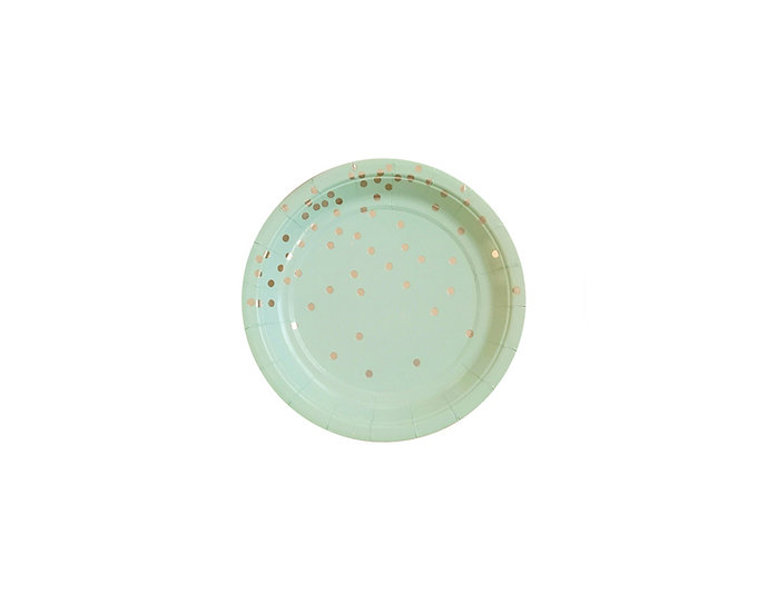 Green gold sparkle paper plate
