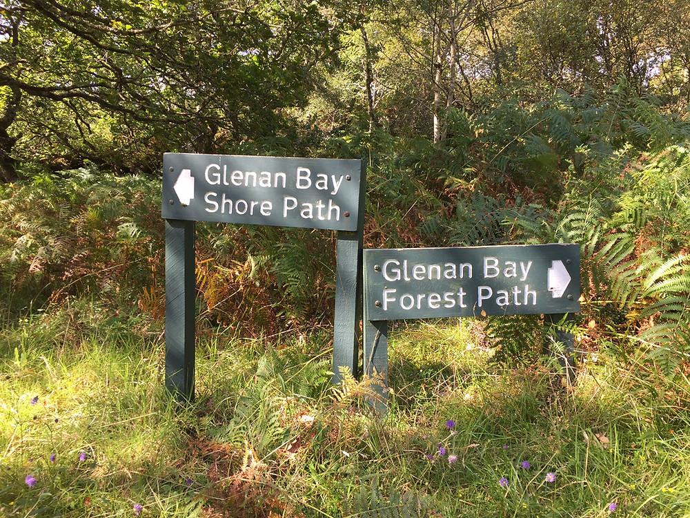 Glenan Bay walk signs