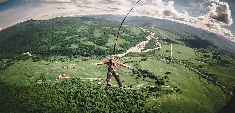 прыжки с веревкой, высота 232 метра