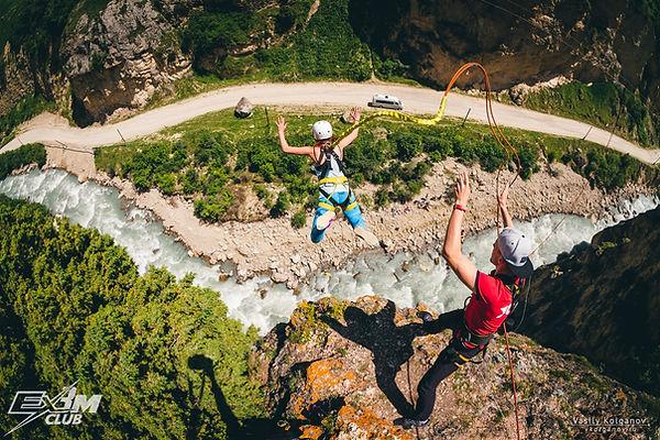 Прыжок с веревкой парадром Чегем