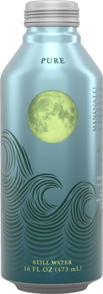 Pure canned drinking water from Mananalu, a drinking water company.