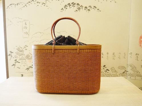 タイ王室御用達工房籠 +縞 紬地巾着(日本製)