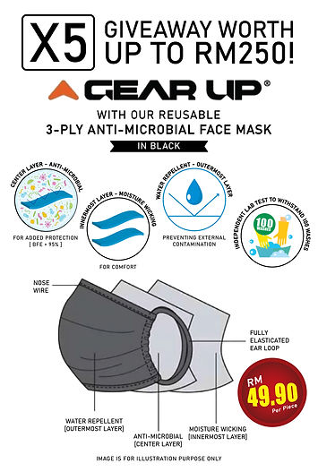 Gear Up 3 - Ply Anti Microbial Face Mask