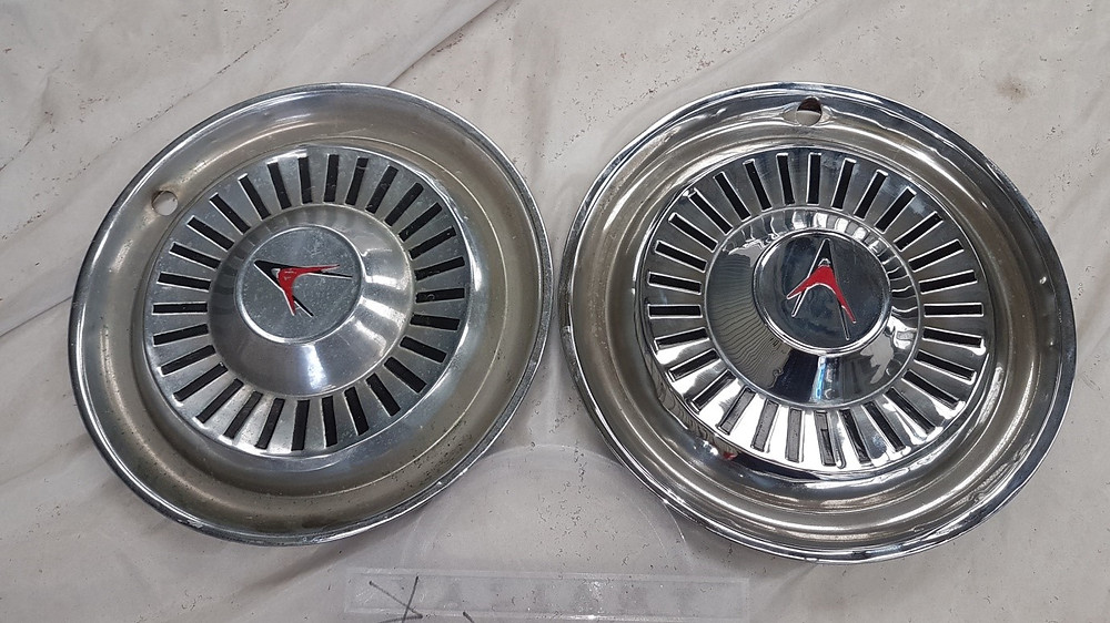 Wheel trims before and after elbow grease treatment.