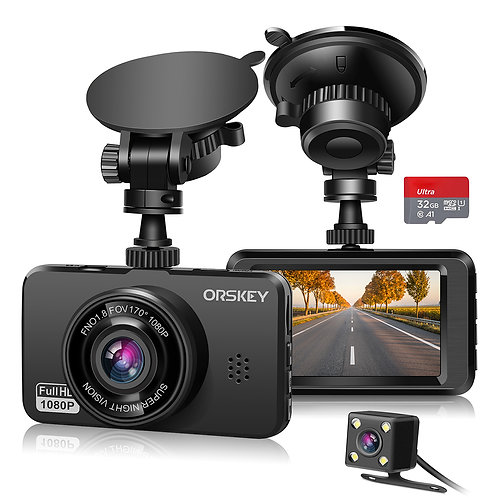 ORSKEY Dash Cam for Cars Front and Rear and SD Card Included 1080P Full HD In Ca
