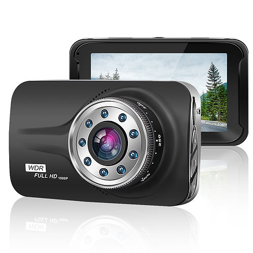 """ORSKEY Car Dash Cam 3.0"""" LCD FHD 1080p 170 Degree Wide Angle Dashboard Camera Re"""