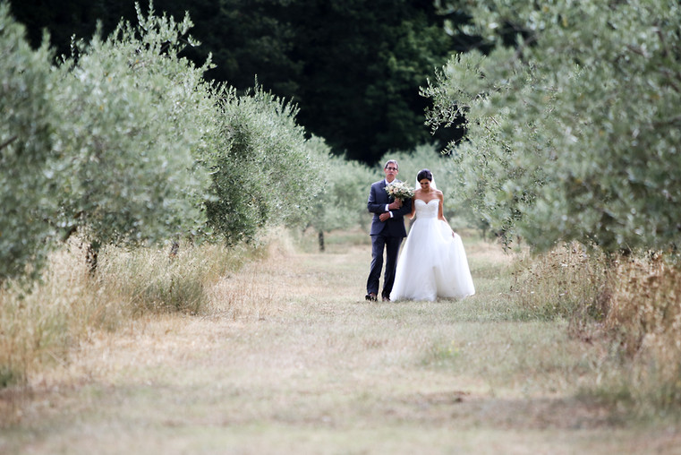 Walking her down the aisle, in Tuscany, Italy
