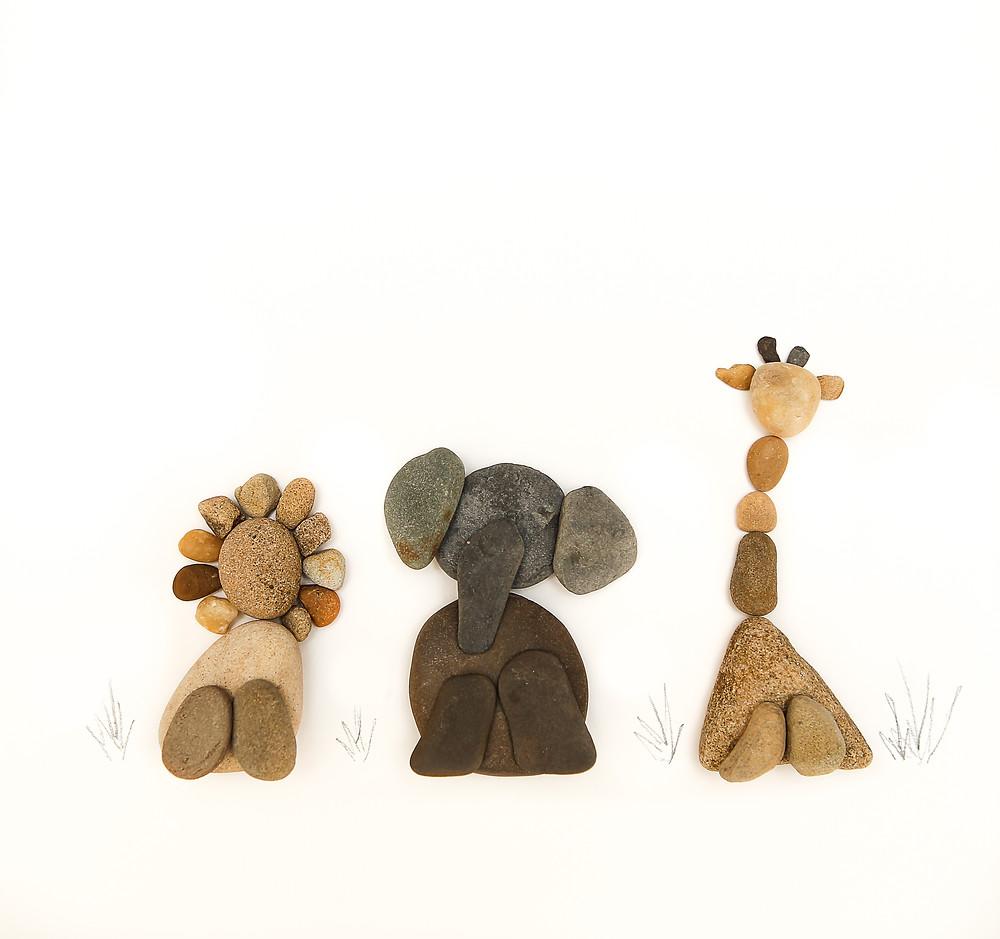 Safari Animals Pebble Art
