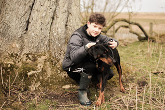 The boy and his dog.
