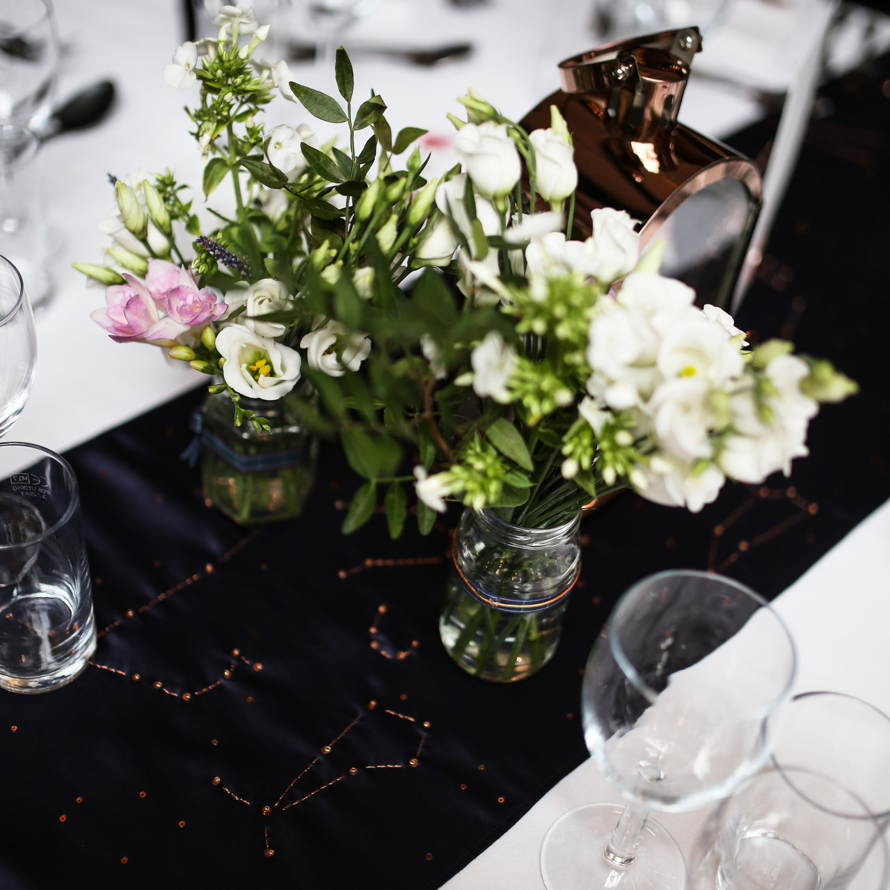 Table runner with star constellation
