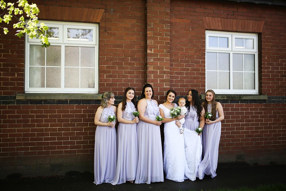 Bride with her bridesmaids, Rillington, Malton