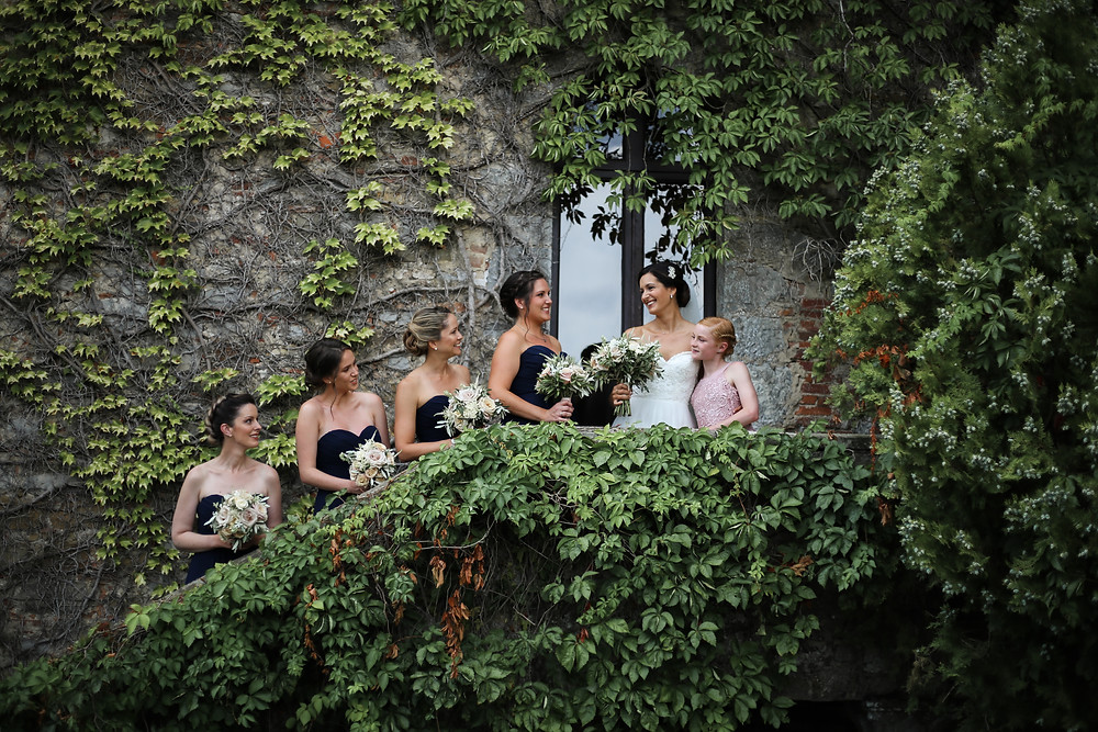The Brides, Bridesmaids and Flower girl all ready to go, in Tuscany.